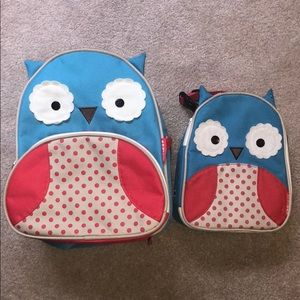 Skip hop toddler backpack and lunch bag. Owl